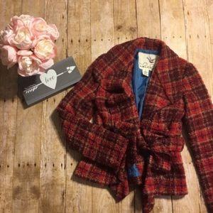 Tabitha Wool Blend Boucle Tie Blazer- Size 2